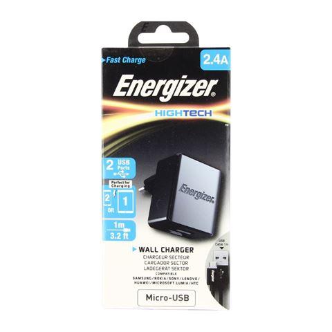 Снимка от Мрежово зарядно с Micro USB кабел, 2xUSB, 2.4A - ENERGIZER