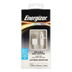 Снимка от USB кабел 2в1 за Micro и iPhone устройства 1.2м - ENERGIZER