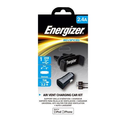 Снимка от Комплект стойка и зарядно за автомобил с Lightning кабел, 1xUSB, 2.4A - ENERGIZER