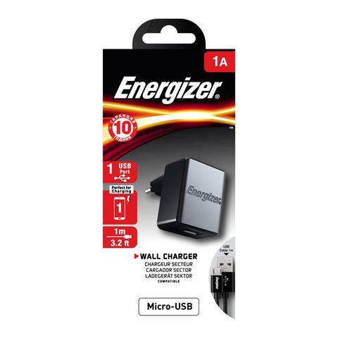 Снимка от Мрежово зарядно с Micro USB кабел, 1xUSB, 1A - ENERGIZER
