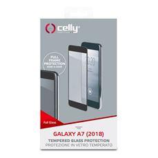 Снимка от Стъклен протектор FULL GLASS за SAMSUNG Galaxy A7 2018 , черен - Celly
