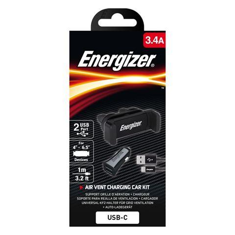 Снимка от Комплект стойка и зарядно за автомобил с USB-C кабел, 2xUSB, 3.4A - ENERGIZER