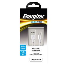 Снимка от Кабел за данни Micro USB към  USB-А, 1.2м, White - ENERGIZER