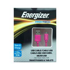 Снимка от Кабел за данни Micro USB към USB-А, 1.2м, Pink - ENERGIZER