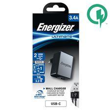 Снимка от Мрежово зарядно с USB-C кабел, 2xUSB, 3.4A - ENERGIZER